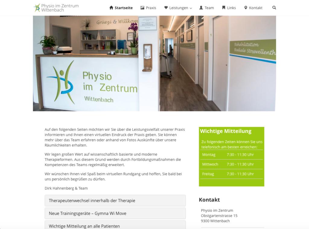 Webseite Physio im Zentrum Wittenbach