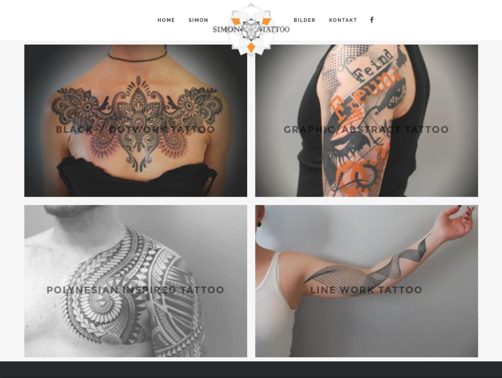 Webseite für Simon Tattoo in Teufen