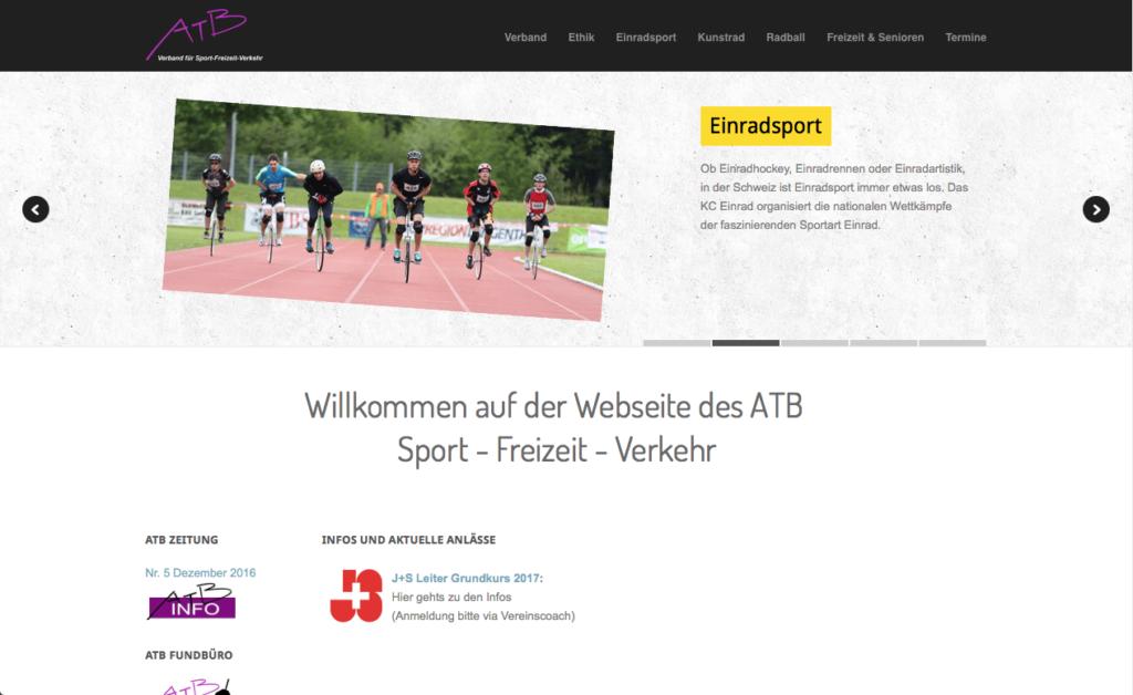 Webseite für ATB-Verband für Sport, Freizeit und Verkehr